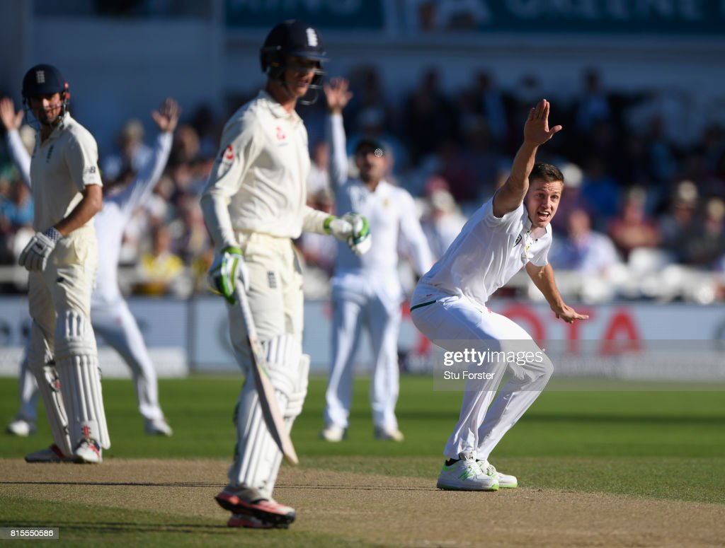 South Africa bowler Morne Morkel appeals for the wicket of Alastair Cook which is overturned on review during day three of the 2nd Investec Test match between England and South Africa at Trent Bridge on July 16, 2017 in Nottingham, England.