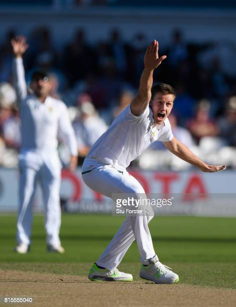 South Africa bowler Morne Morkel appeals for the wicket of Alastair Cook which is overturned on review to the fourth umpire during day three of the...