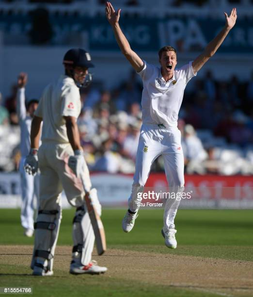 South Africa bowler Morne Morkel appeals for the wicket of Keaton Jennings during day three of the 2nd Investec Test match between England and South...