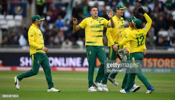 South Africa bowler Morne Morkel celebrates after dismissing Pakistan batsman Aazhar Ali during the ICC Champions Trophy match between South Africa...