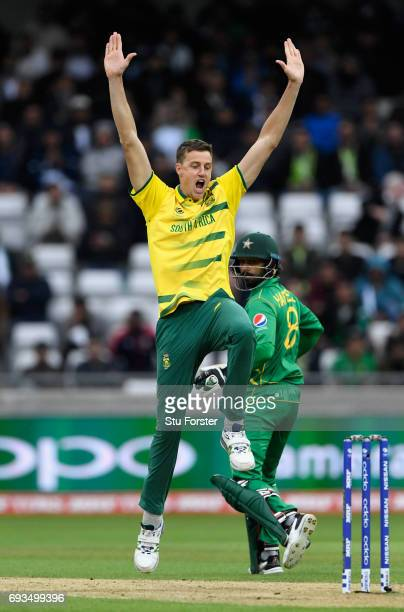 South Africa bowler Morne Morkel celebrates after dismissing Pakistan batsman Hafeez during the ICC Champions Trophy match between South Africa and...