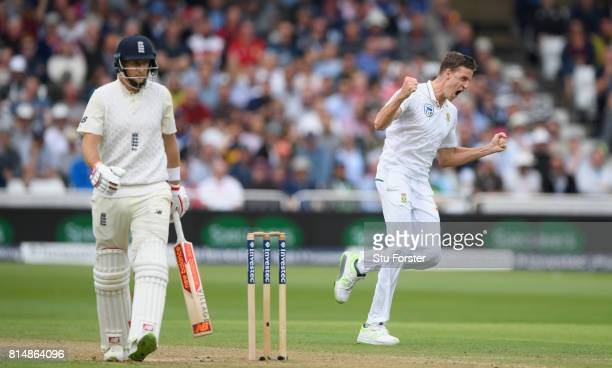South Africa bowler Morne Morkel reacts after dismissing Joe Root during day two of the 2nd Investec Test match between England and South Africa at...