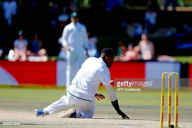 South Africa bowler Phehlukwayo misses a catch during the third day of the second Test Match between South Africa and Bangladesh in Bloemfontein on...