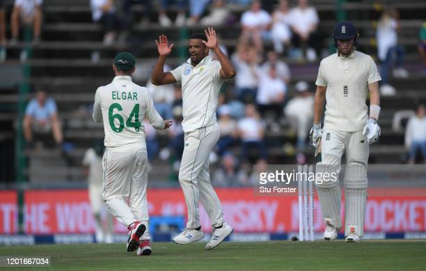 South Africa bowler Vernon Philander celebrates after dismissing England batsman Zac Crawley during Day One of the Fourth Test between South Africa...