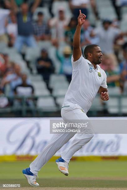 South Africa bowler Vernon Philander celebrates dismissing India batsman Jasprit Bumrah and winning the match by 72 runs during day four of the First...