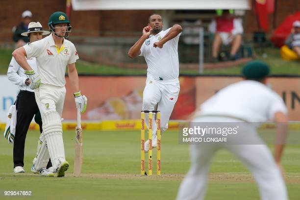South Africa bowler Vernon Philander delivers the ball during day one of the second Sunfoil Test between South Africa and Australia at St George's...
