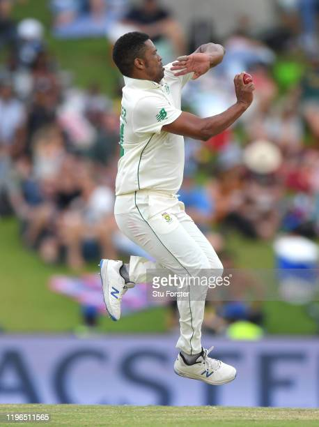 South Africa bowler Vernon Philander in action during Day Four of the First Test match between England and South Africa at SuperSport Park on...
