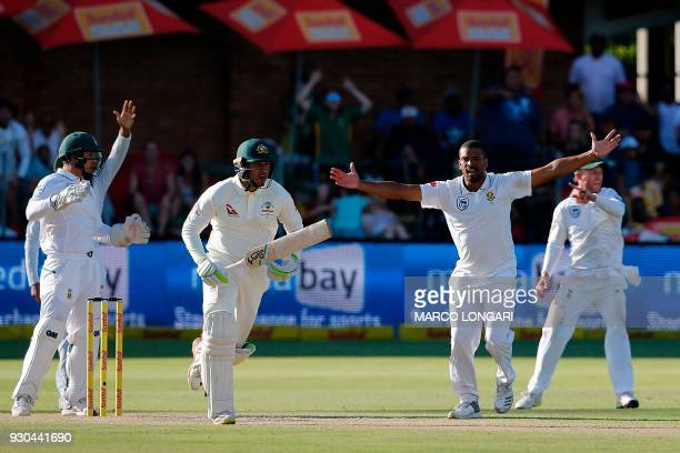 South Africa bowler Vernon Philander makes an unsuccessful appeal for the wicket of Australian batsman Usman Khawaja during the third days play in...