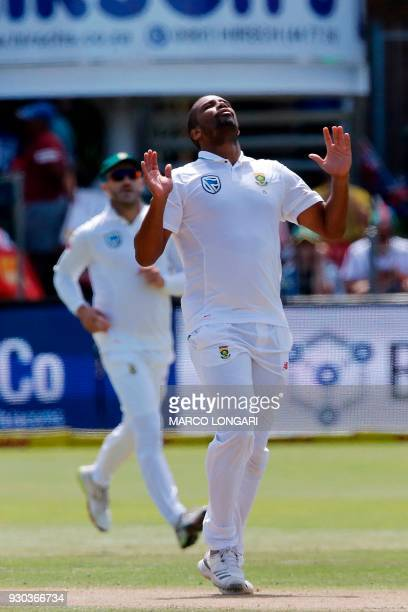 South Africa bowler Vernon Philander reacts during day three of the second Test cricket match between South Africa and Australia at St Georges Park...