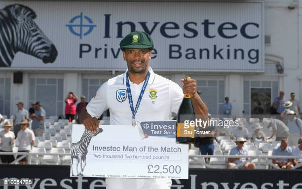 South Africa bowler Vernon Philander with his man of the match award after day four of the 2nd Investec Test match between England and South Africa...