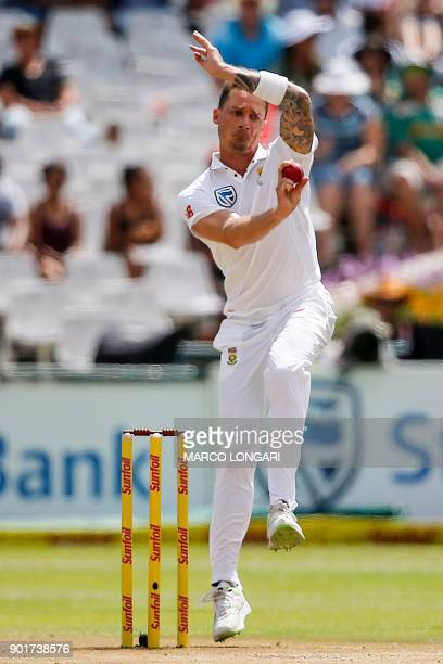 South Africa bowler's Dale Steyn delivers a ball to India batsman Rohit Sharma during the second day of the first Test cricket match between South...