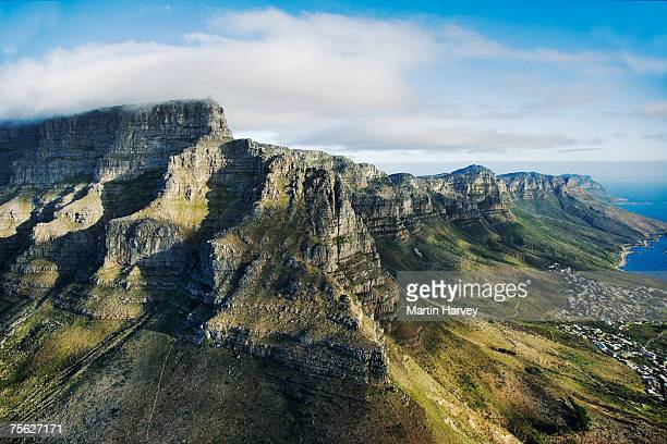 south africa, cape town, aerial view of table mountain - table mountain stock pictures, royalty-free photos & images