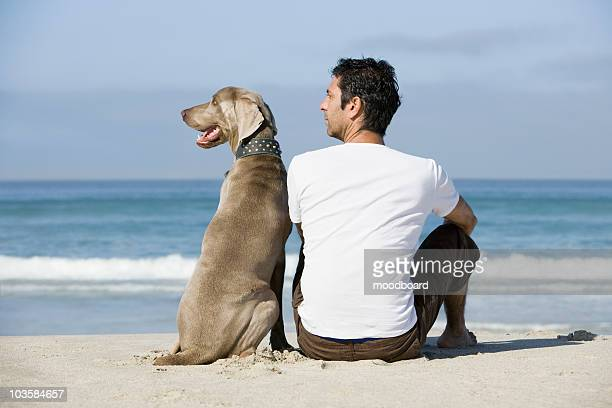 South Africa,  Cape Town,  Man and dog sitting beach