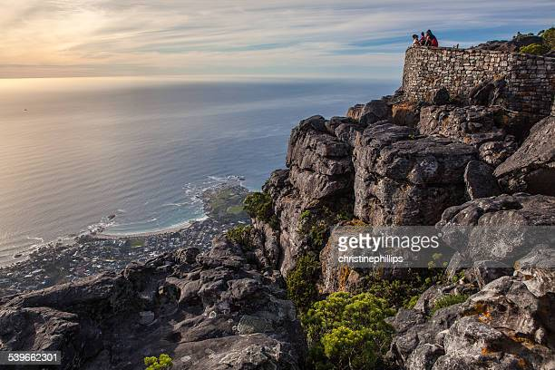 South Africa, Cape Town, People enjoying views from top of Table Mountain