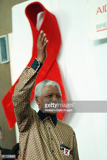 South Africa Cape Town President of South Africa Nelson Mandela arrives at an AIDS awareness meeting to mark International Womens Day