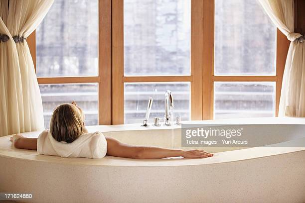 South Africa, Cape Town, Woman enjoying bath spa