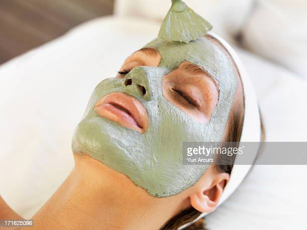 South Africa, Cape Town, Woman receiving face spa therapy