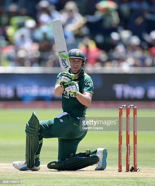 South Africa captain AB de Villiers bats during the 2nd Momentum ODI between South Africa and England at St George's Park on February 6 2016 in Port...