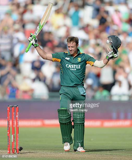 South Africa captain AB de Villiers celebrates reaching his century during the 5th Momentum ODI match between South Africa and England at Newlands...