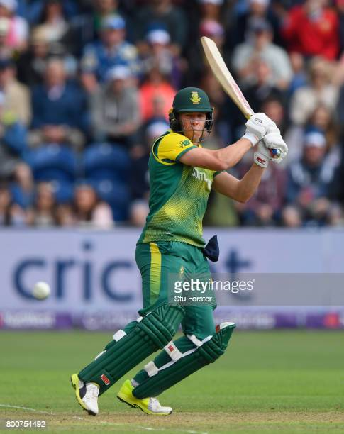 South Africa captain AB de Villiers hits out during the 3rd NatWest T20 International between England and South Africa at SWALEC Stadium on June 25...