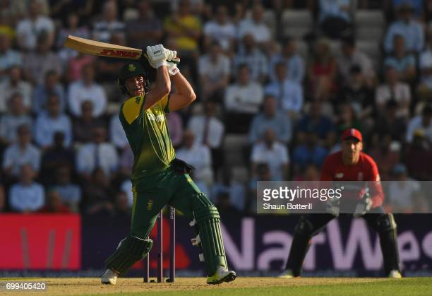 South Africa captain AB de Villiers plays a shot during the 1st NatWest T20 International match between England and South Africa at Ageas Bowl on...