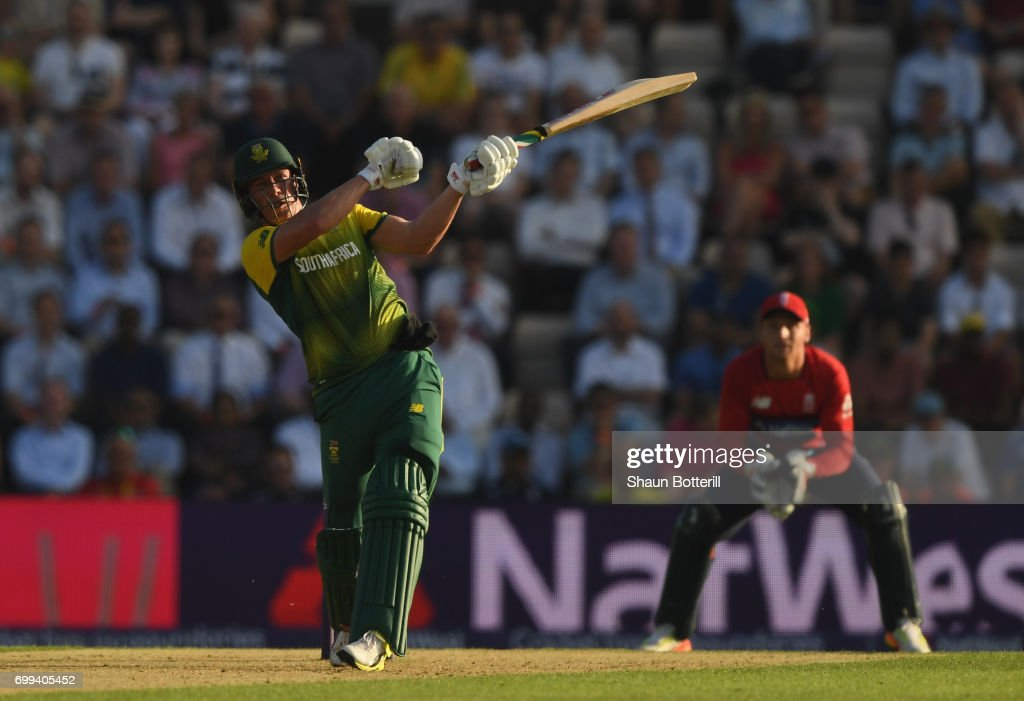 South Africa captain AB de Villiers plays a shot during the 1st NatWest T20 International match between England and South Africa at Ageas Bowl on June 21, 2017 in Southampton, England.