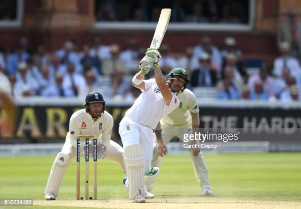 South Africa captain Dean Elgar bats during day two of the 1st Investec Test between England and South Africa at Lord's Cricket Ground on July 7 2017...