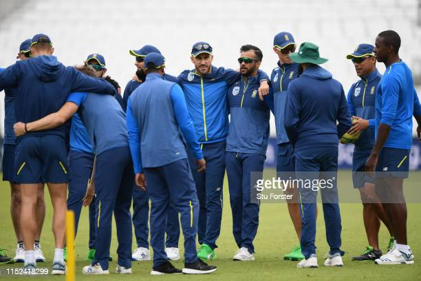 South Africa captain Faf du Plessis and team mates huddle during nets ahead of their opening ICC Crricket World Cup match against England at The Oval...