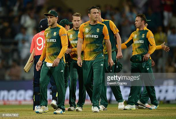 South Africa captain Faf du Plessis and team react after losing the ICC World Twenty20 India 2016 Super 10s Group 1 match between South Africa and...