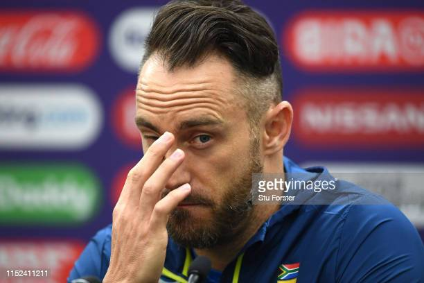 South Africa captain Faf du Plessis faces the media ahead of their opening ICC CRricket World Cup match against England at The Oval on May 29 2019 in...