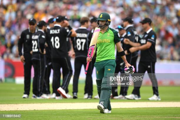 South Africa captain Faf du Plessis leaves the field after being bowled by Lockie Ferguson during during the Group Stage match of the ICC Cricket...