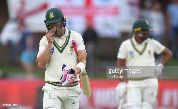 South Africa captain Faf du Plessis leaves the field after being dismissed during Day Four of the Third Test between South Africa and England at St...