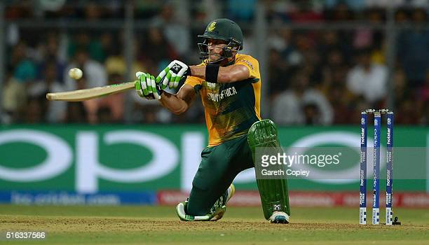 South Africa captain Faf du Plessis plays a ramp shot during the ICC World Twenty20 India 2016 Super 10s Group 1 match between South Africa and...