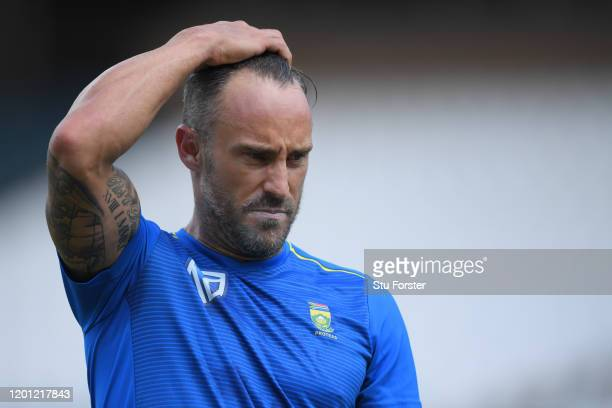 South Africa captain Faf du Plessis reacts during South Africa nets at The Wanderers ahead of the 4th and final Test Match on January 22 2020 in...