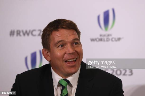 South Africa Captain John Smit during the Rugby World Cup 2023 Bid Presentations event at Royal Garden Hotel on September 25 2017 in London England