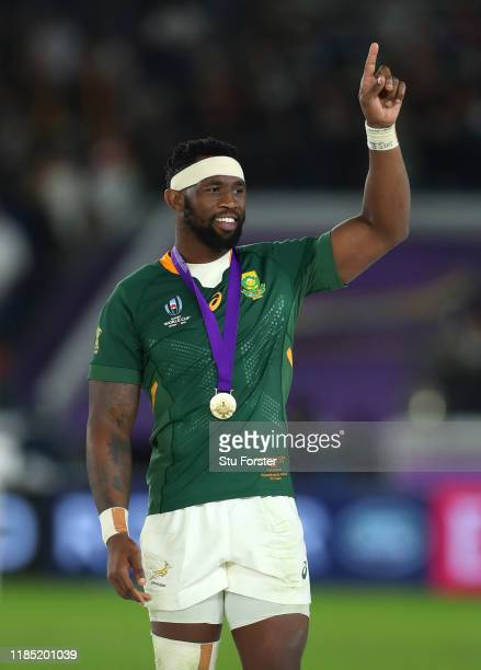 South Africa captain Siya Kolisi celebrates after the Rugby World Cup 2019 Final between England and South Africa at International Stadium Yokohama...