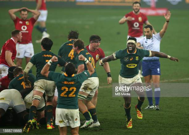 South Africa captain Siya Kolisi celebrates as Referee Mathieu Raynal blows for a penalty during the 3rd Test between South Africa and the British &...