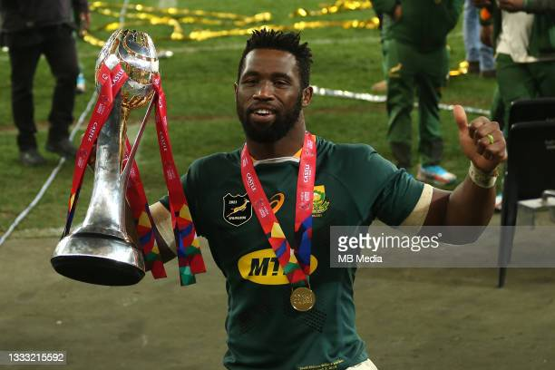 South Africa captain Siya Kolisi celebrates with the Castle Lager Lions Series Trophy after South Africa beat British & Irish Lions 19-16 to win the...