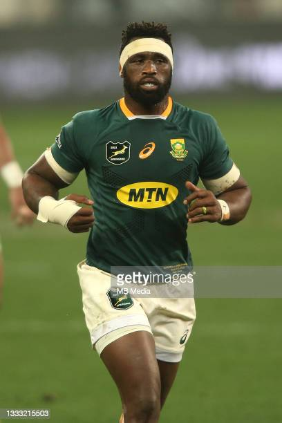 South Africa captain Siya Kolisi during the 3rd Test between South Africa and the British & Irish Lions at FNB Stadium on August 7, 2021 in...