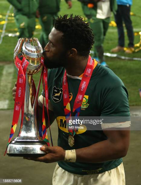 South Africa captain Siya Kolisi kisses the Castle Lager Lions Series Trophy after South Africa beat British & Irish Lions 19-16 to win the series...