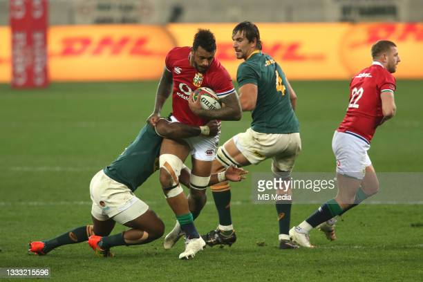 South Africa captain Siya Kolisi tackles Courtney Lawes of the British & Irish Lions during the 3rd Test between South Africa and the British & Irish...