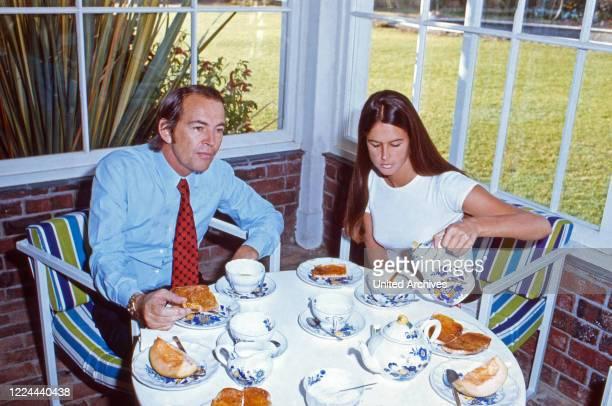 South Africa cardiac surgeon Christiaan Barnard with his wife Barbara having breakfast at his villa Waiohai in Cape Town South Africa 1974