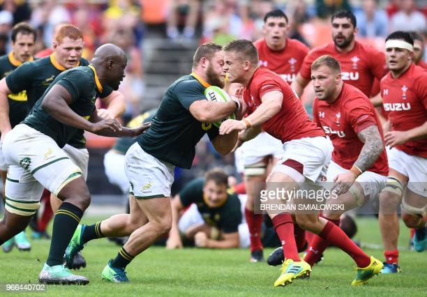 South Africa carries the ball against Wales during the friendly Wales v South After Rugby match at RFK Stadium in Washington DC on June 2 2018