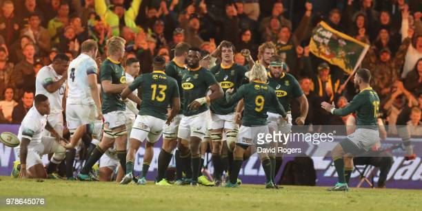 South Africa celebrate after a penalty try during the second test match between South Africa and England at Toyota Stadium on June 16 2018 in...