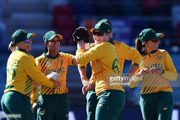 South Africa celebrate after dismissing Thailand's Nannapat Koncharoenkai during the Twenty20 women's World Cup cricket match between South Africa...