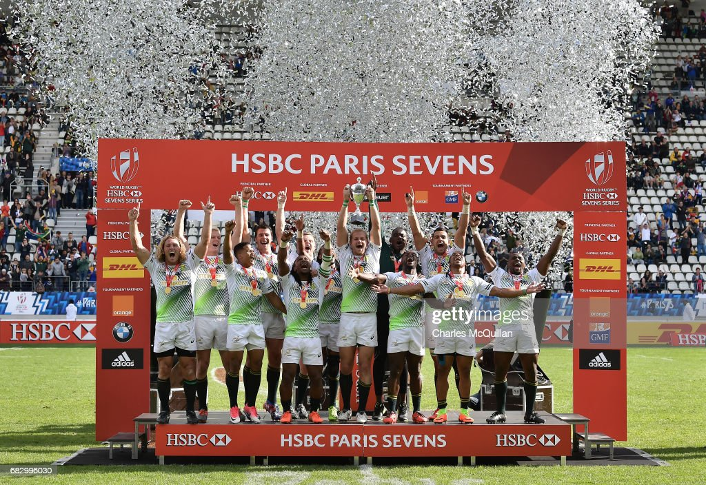 South Africa celebrate after winning the HSBC World Rugby Sevens Series tournament at Stade Jean Bouin on May 14, 2017 in Paris, France.