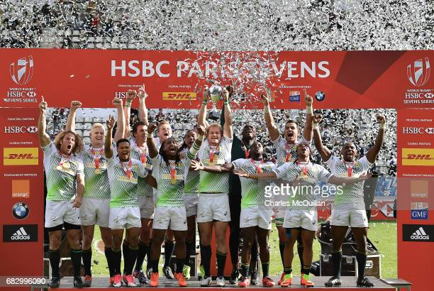 South Africa celebrate after winning the HSBC World Rugby Sevens Series tournament at Stade Jean Bouin on May 14 2017 in Paris France