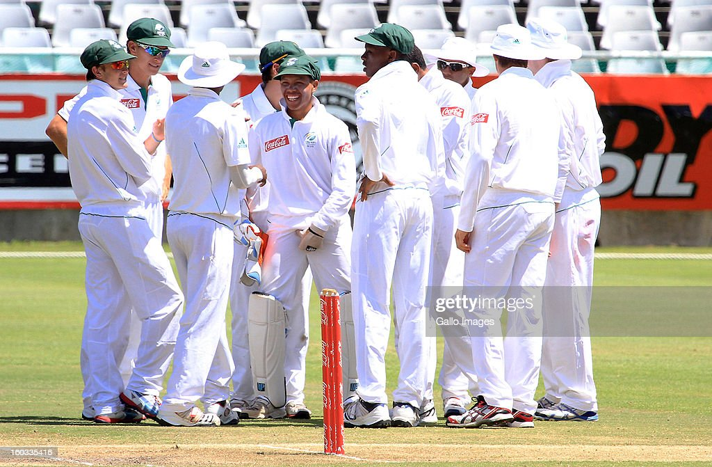 South Africa celebrate an England wicket during day 3 of the U/19 1st Youth Test match between South Africa and England at Sahara Park Newlands on January 29, 2013 in Cape Town, South Africa.