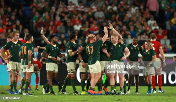 South Africa celebrate during the Rugby World Cup 2019 SemiFinal match between Wales and South Africa at International Stadium Yokohama on October 27...