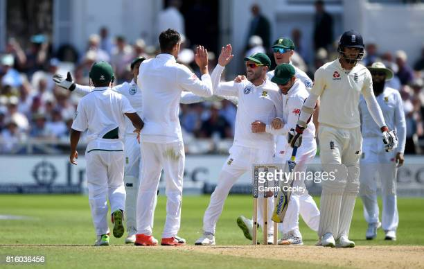 South Africa celebrate taking the final wicket of James Anderson to win the 2nd Investec Test match between England and South Africa at Trent Bridge...